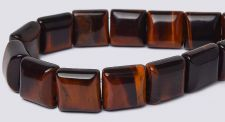 16 inch strand Red Tiger Eye 10x10mm 2-Hole Square Stone Beads